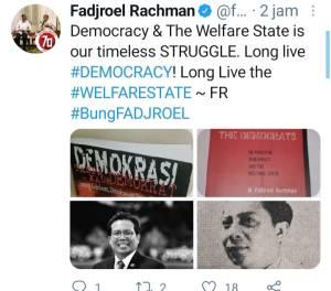 Fadjroel Unggah Buku Demokrasi yang Ditulisnya, Warganet Singgung Pembajakan Demokrat