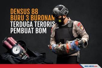 Densus 88 Buru 3 Buronan Terduga Teroris Pembuat Bom di Jakarta