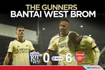 Piala Liga Inggris: Arsenal Bantai West Brom Enam Gol Tanpa Balas
