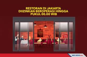 Restoran di Jakarta Diizinkan Beroperasi Hingga Pukul 00.00 WIB