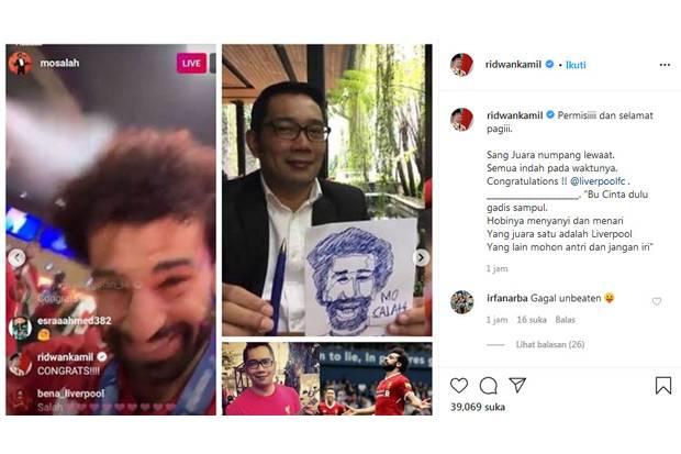 Liverpool Juara Liga Inggris, Ridwan Kamil Bikin Pantun