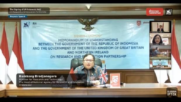Menristek/Kepala BRIN dan Menteri Ilmu Pengetahuan, Riset, dan Inovasi Inggris Perpanjang Kemitraan Iptek