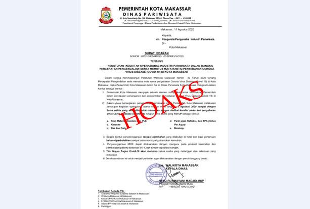 Beredar Surat Edaran Larangan THM, Kadispar Makassar: Itu Hoaks