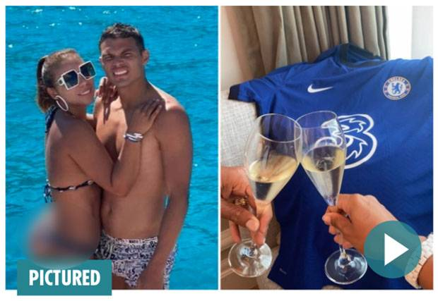 Thiago Silva dan Istri Rayakan Kepindahan ke Chelsea