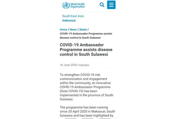 Program Duta Wisata COVID-19 Gubernur Sulsel Diapresiasi WHO