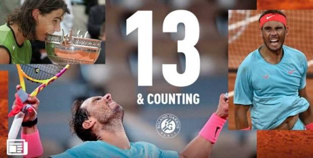 Nadal Memang Rajanya Roland Garros, Rekor 13 Juara dan 100 Menang