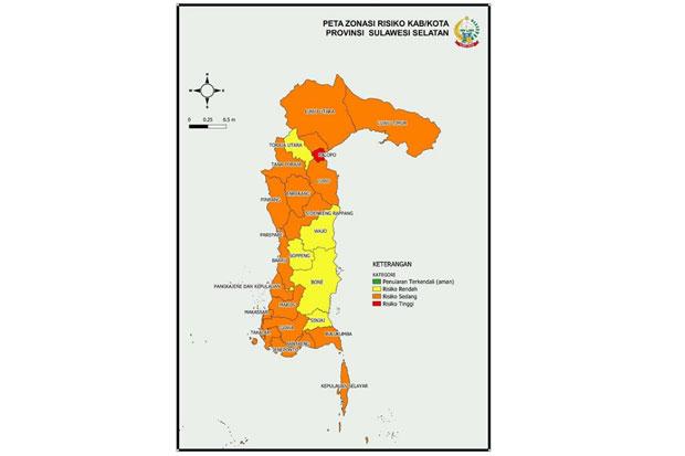 Status Zona Merah Penularan COVID-19 di Sulsel Tinggal Kota Palopo