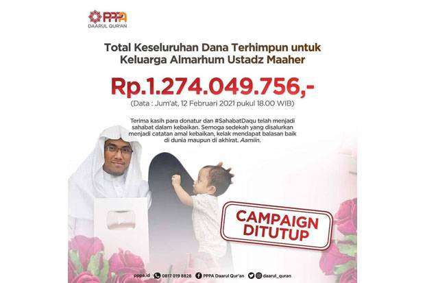 Ditutup, Donasi Ustaz Maaher Lewat Yusuf Mansur Tembus Rp1,2 Miliar