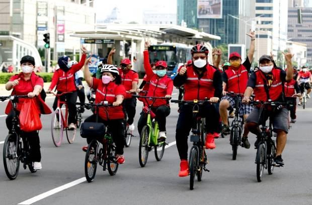 Elite PDIP Gowes Bareng di Kawasan GBK dan Monas Kampanyekan Hidup Sehat