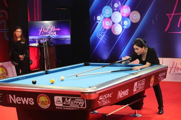 Turnamen Biliar Hot Nine: Fathrah Masuk 8 Besar Setelah Kalahkan Desi Arista 3-2