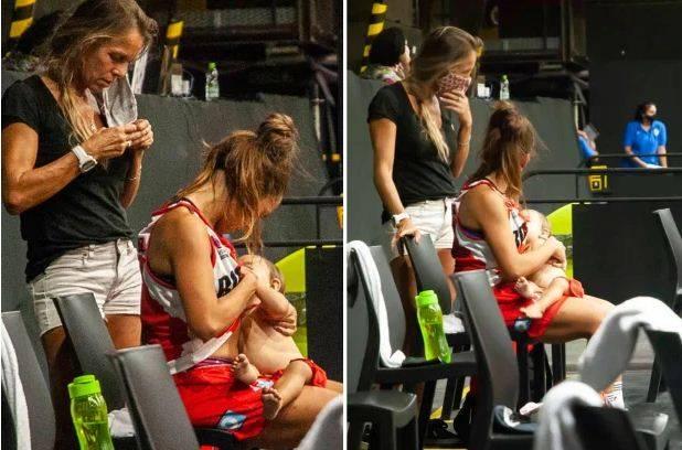 Basket Gempar! Antonella Gonzalez Menyusui Putrinya 11 Bulan di Lapangan
