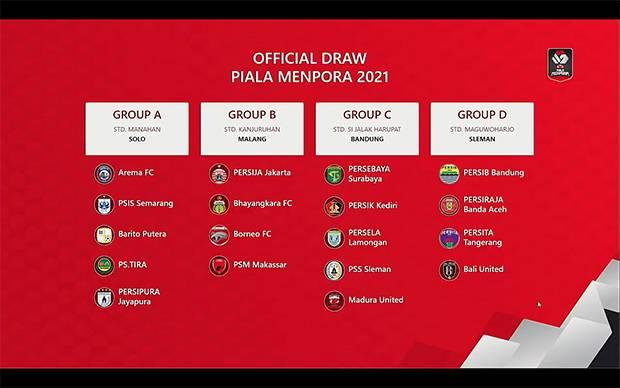 Hasil Drawing Babak Penyisihan Grup Piala Menpora 2021