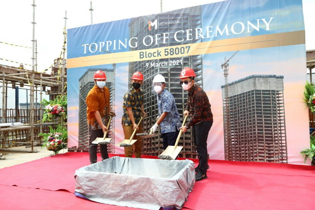 LPCK Perkuat Kawasan Kota Mandiri, Meikarta Sudah 'Topping Off' Menara ke-6 di Distrik 2
