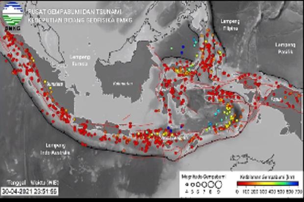 BMKG Catat Terjadi 807 Gempa Bumi di Indonesia Selama April 2021
