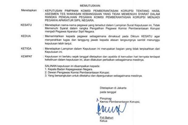 Beredar Surat Diteken Firli Bahuri, 75 Pegawai KPK Diminta Lepas Tanggung Jawab