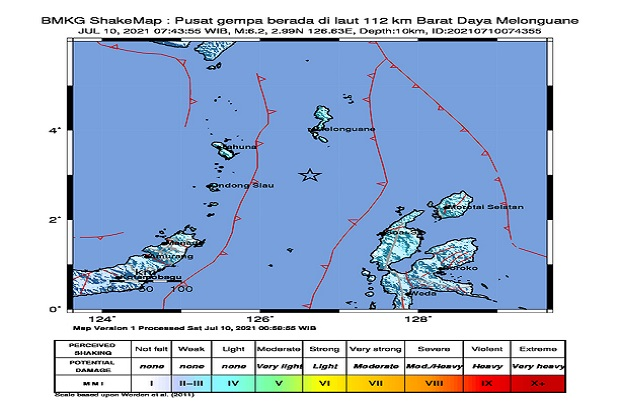 Usai Gempa Magnitudo 6,2 BMKG Mencatat 19 Kali Gempa Susulan di Melonguane Sulut