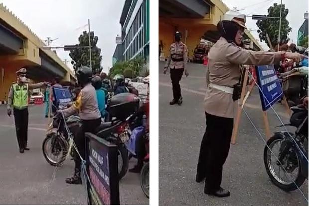 Viral Video Bhabinkamtibmas Marah Coba Terobos Penyekatan PPKM di Pekanbaru