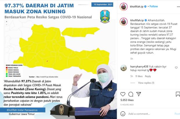 Jatim Masuk Zona Kuning Penyebaran COVID-19, Gubernur Khofifah: Alhamdulillah!