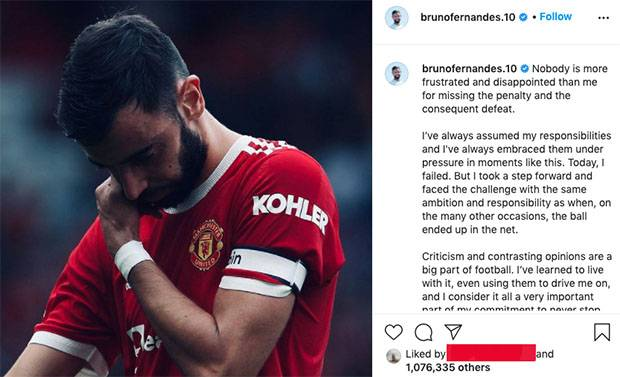 Gagal Eksekusi Penalti, Bruno Fernandes Akhirnya Minta Maaf ke Penggemar