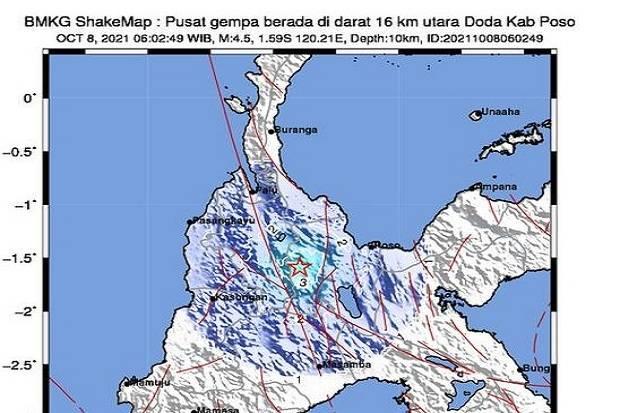 Gempa Magnitudo 4,5 Guncang Poso Sulawesi Tengah