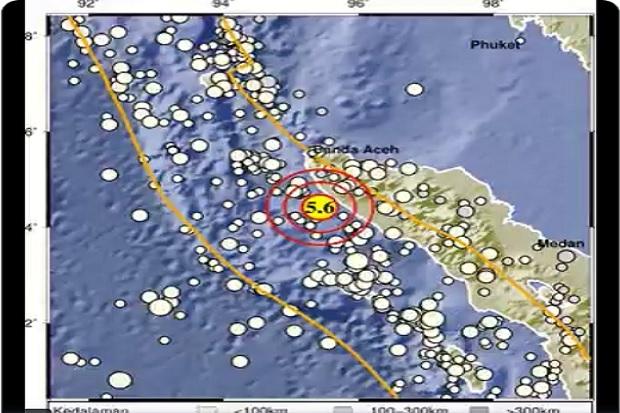 Gempa Bumi Berkekuatan Magnitudo 5,6 Guncang Aceh Jaya